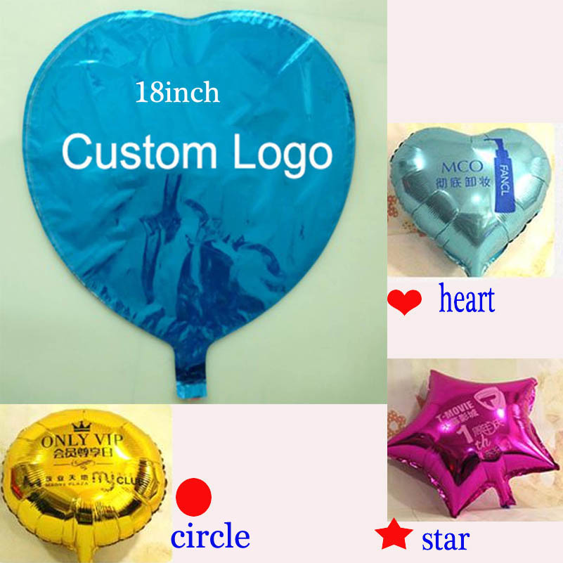 Logo customized foil balloons Both Sides Prints Promotional advertising Kids toy helium balloon 18 inch star heart round 100pcs/lot