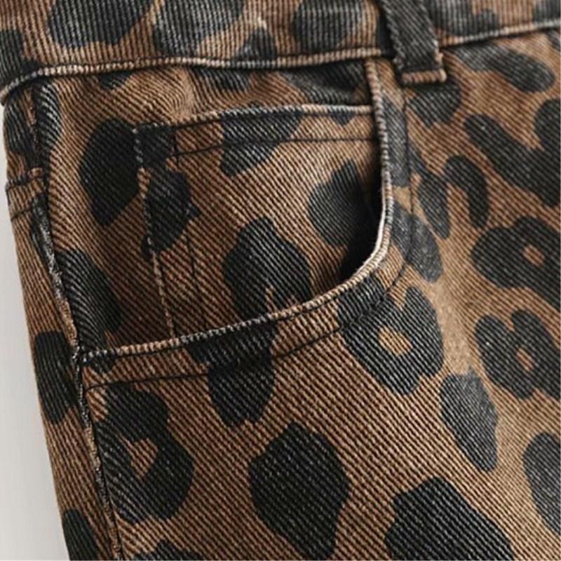 Femmes Imprimé Animal Léopard Mini Jeans Jupe Sexy Vintage Denim Jupe Taille Haute Droit Trou Avant Et Arrière Poche Jupe Courte Y19042602