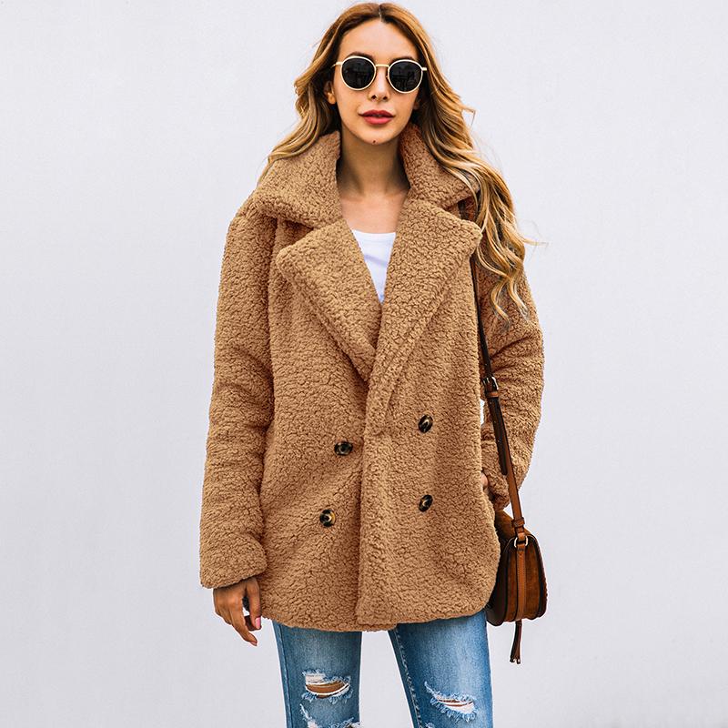 Women Faux Fur Coat Teddy Bear Jacket female Plush Fur Fake Coat Notch Lapels Oversized Winter Plush Jacket Big Size 3XL