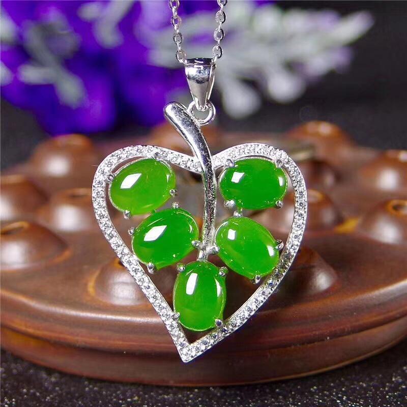 Jasper Green Natural jade Tiger Natural jade Necklace Pendant jewelry Amulet