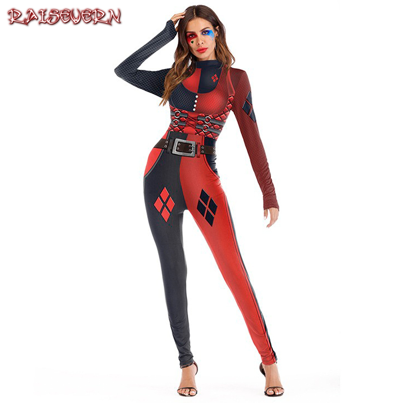 RAISEVERN Halloween Costumes For Women Cool Girl Sexy Cosplay Scary Bones Tissues Fantasy Uniform Full Length Skinny Jumpsuits