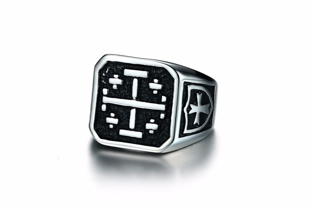 Jerusalem Cross Medieval Signet Ring for Men Solid Stainless Steel Vintage Jewelry Anel Aneis Masculinos Anillos 14