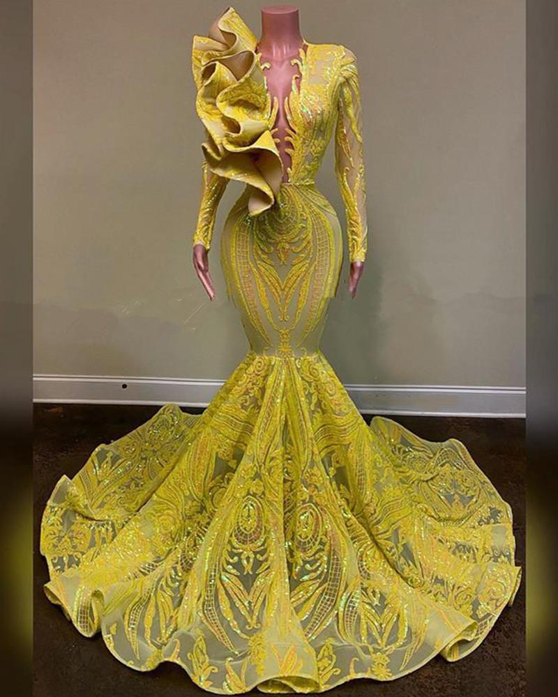 lange abendkleider 2020 sexy durchschauen top sparkly glitter pailletten  african black girl long sleeve yellow mermaid prom abendkleid
