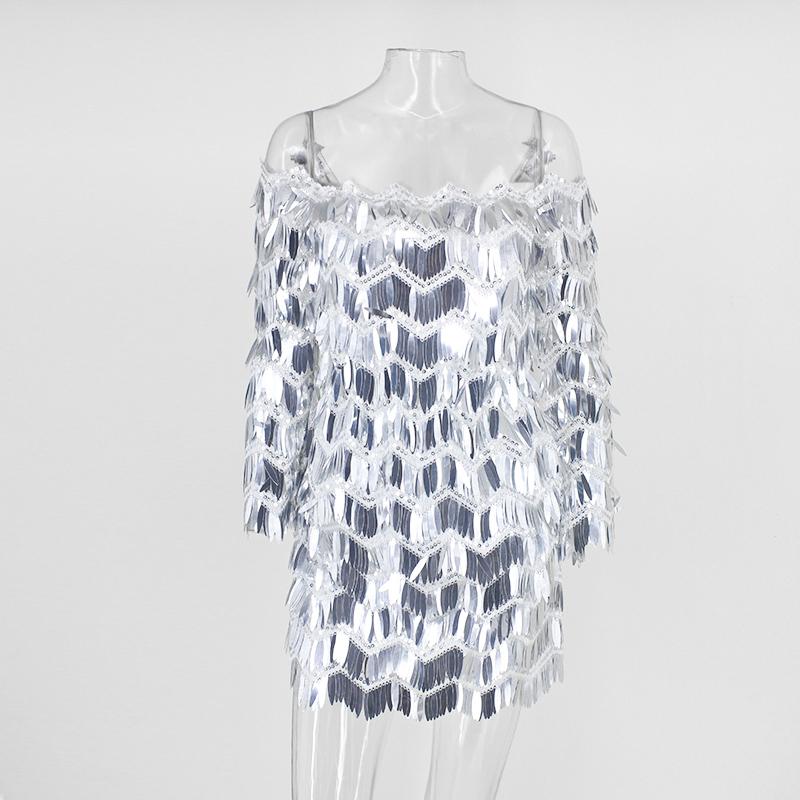 Tobinoone Off spalla estate con paillettes nappe aderente abiti backless donne sexy club dress party vestidos Q190506