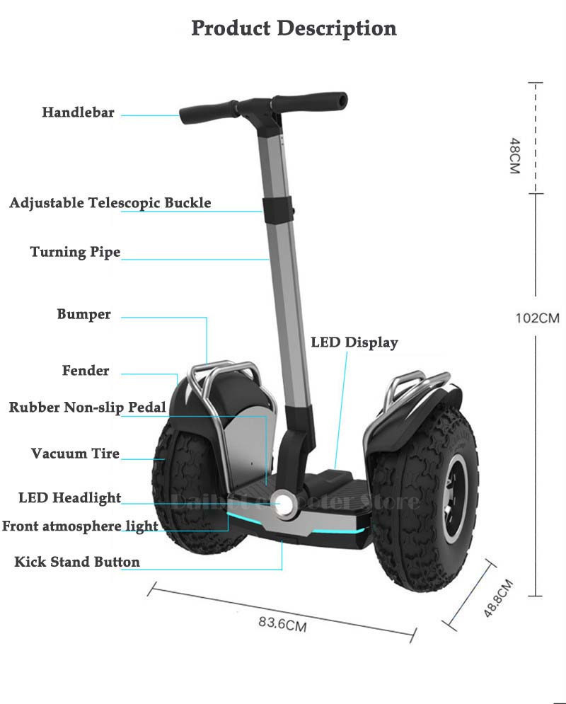Daibot Off Road Electric Scooter 19 Inch Self Balancing Scooters 1200W2 Adults Skateboard Hoverboard With BluetoothAPP (6)