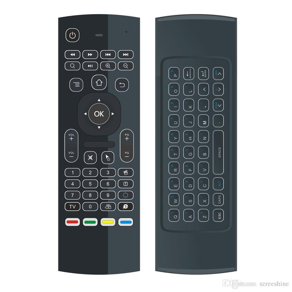 Calvas MX3-A MX3-M Voice Control Wireless Air Mouse Keyboard 2.4G RF Gyro Sensor Smart Remote Control For X96 H96 Android TV Box Color: EN W Mic No Backlit