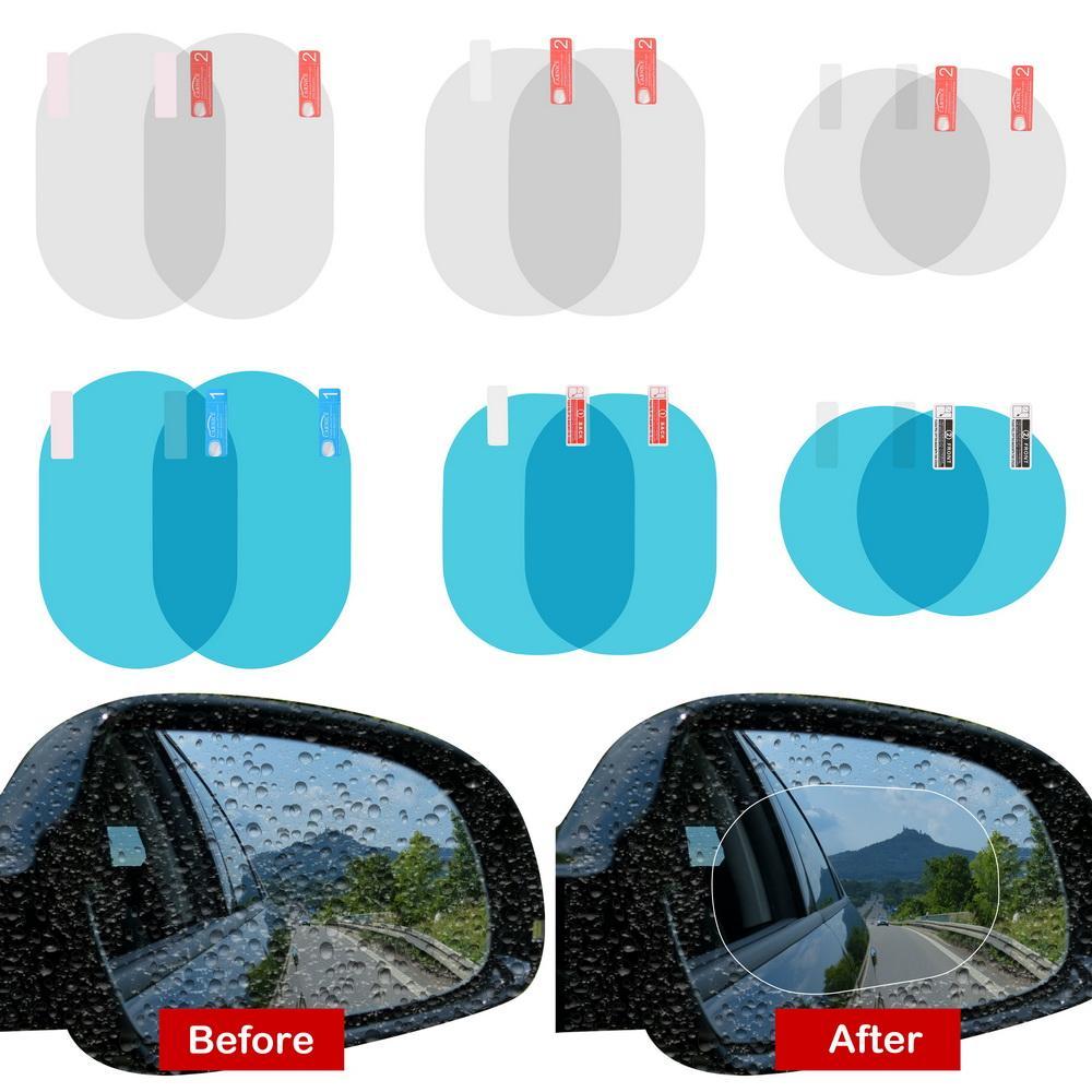 2pcs Pel/ícula de Espejo retrovisor Impermeable Oval y Rect/ángulo Antirreflejo Anti-ara/ñazos antivaho Espejo retrovisor Pel/ícula
