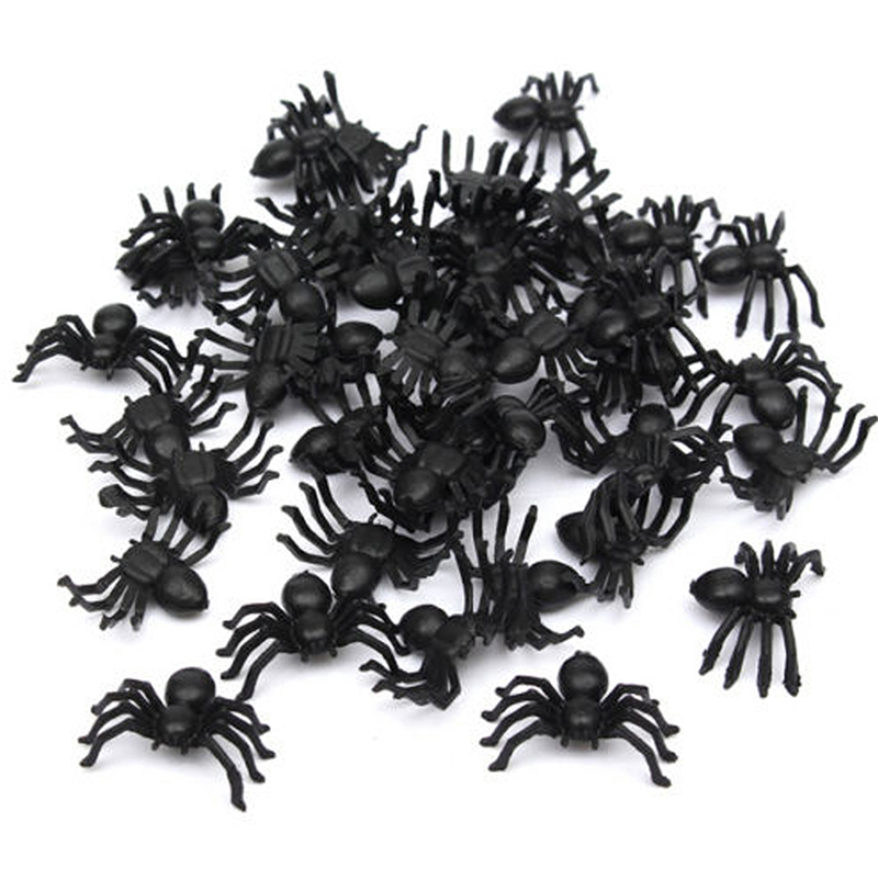 50Pcs Small Soft PVC Fake Spider Toys Funny Joke Prank Props Halloween Decors