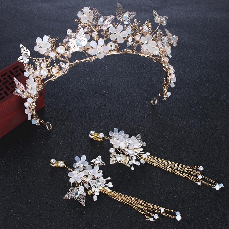 Chinese hand-carved old jade wishful shape tiara hair clip