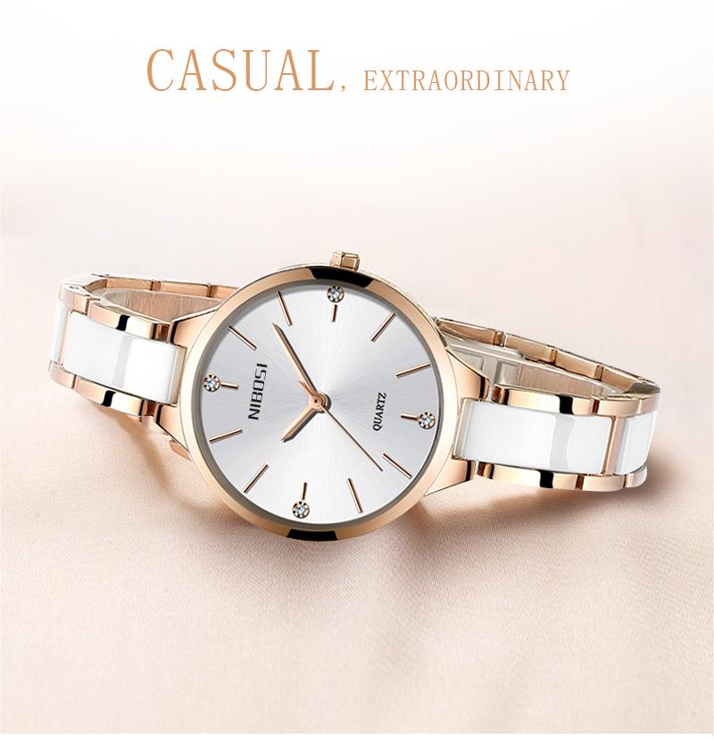 Relojes Para Mujer NIBOSI Women Watches Bracelet Watch Ladies Wrist Watch Women Waterproof Fashion Casual Crystal Dial Rose Gold (2)