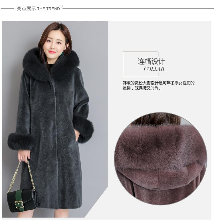 2019 Winter Coat Women Artificial Fox Fur Hooded Cap Collar Lamb Down Dames Jassen Winter Manteau Femme Hiver Elegant Female Overcoat SH190930 From