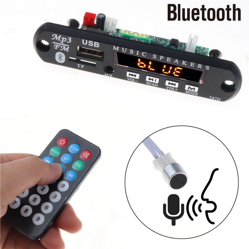 With Mic Handsfree Bluetooth MP3 Decoder Board Car FM Radio Module Support FM TF USB AUX Audio Player Bluetooth car kit 12V6