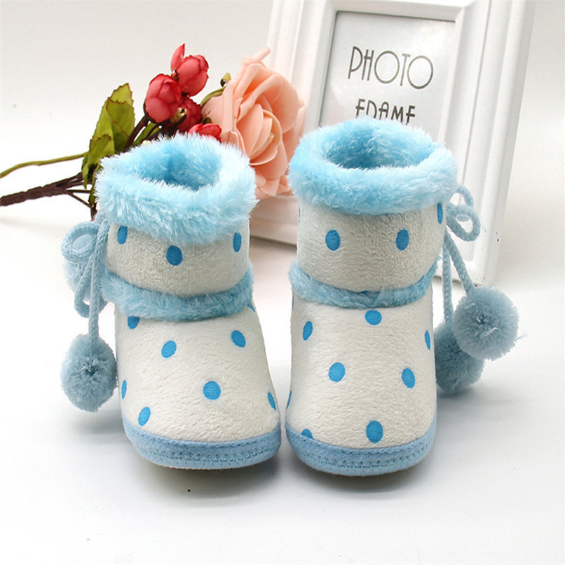 1 Pair Baby Girl Boots Baby Girl Dot Printed Bowknot Soft Sole Snow Boots Soft Crib Shoes Toddler winter Boots bota infantil D10 (9)
