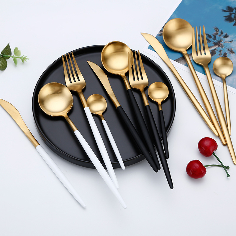 Hot Sale Dinner Set Cutlery Knives Forks Spoons Wester Kitchen Dinnerware Stainless Steel Home Party Tableware Set Dropshipping D19011702
