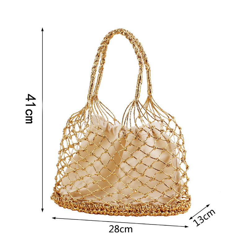 Gold-silver-2color-bright-paper-ropes-hollow-woven-bag-cotton-lining-straw-bag-female-Reticulate-handbag