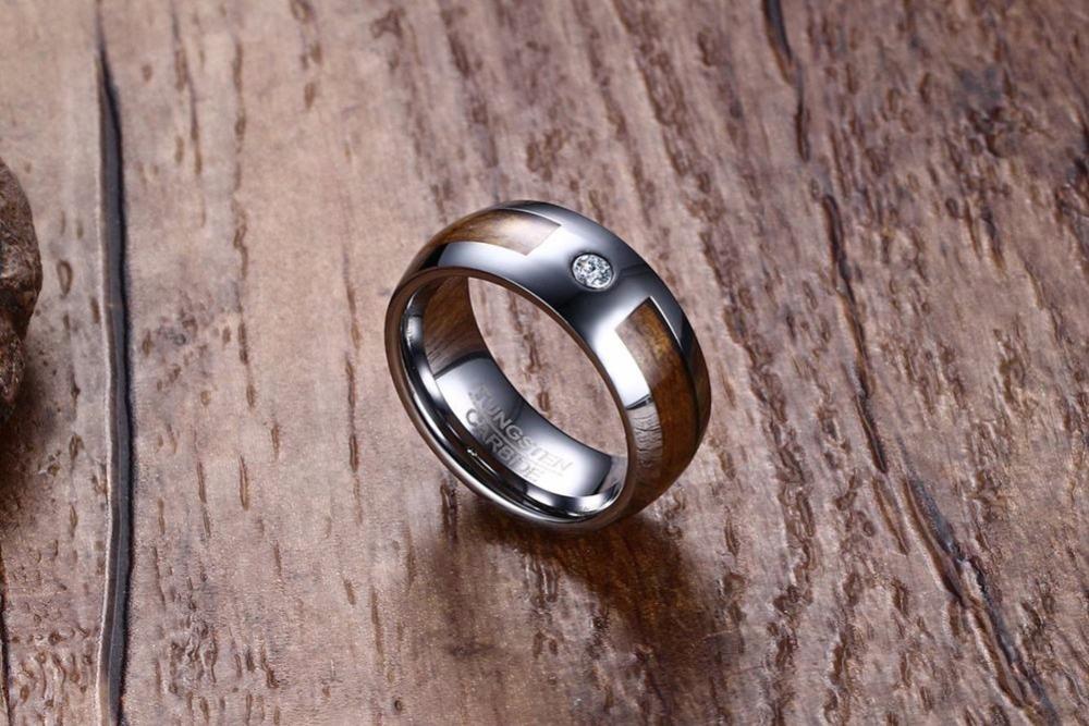 Mens Tungsten Carbide Rings Wood Grain CZ Inlay Tungsten Wedding Band Fashion Jewelry 19