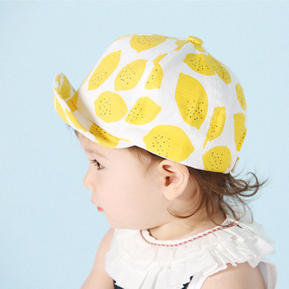 2018 Yeni Sevimli Sevimli Toddler Bebek Çocuk Beyzbol Şapkası Limon Baskılı Sunhat Erkek Kız Kap Sunhat Yüksek Kalite Yumuşak Kızlar