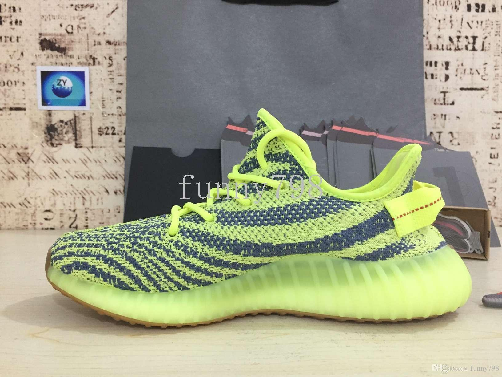 Mejor [] 2019 V2-2.0 Zebra Breds Ored Static Seasam Frozen Yellow 2.0 Kanye West 3m Zapatos reflectantes Hombre Mujer Diseñador Zapatillas