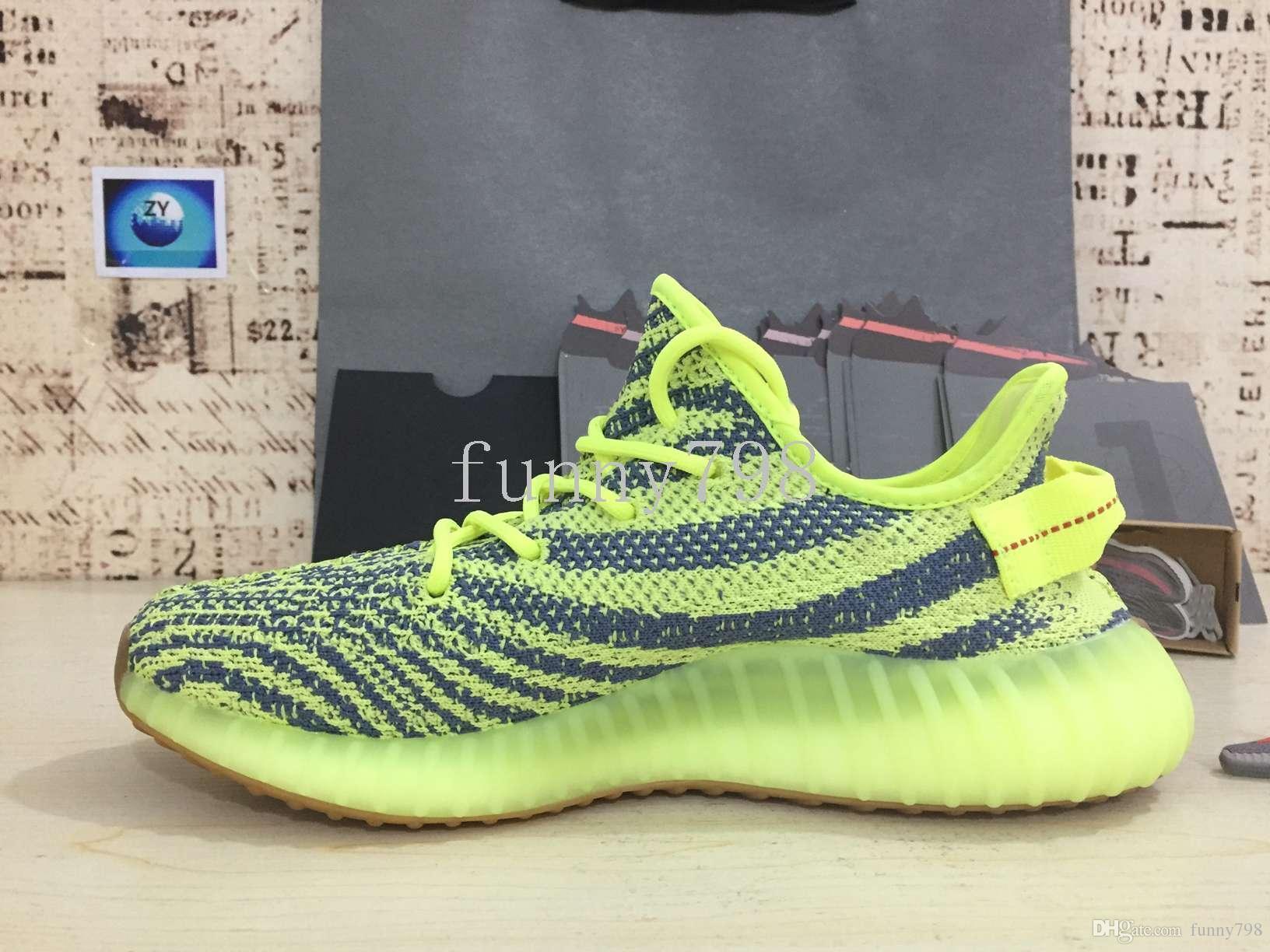 Migliore [] 2019 V2-2.0 Zebra Breds Ored Static Seasam Frozen Yellow 2.0 Kanye West 3m Scarpe riflettenti Uomini Donne Sneakers di design