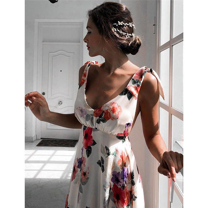 Sexy Floral Imprimer Femmes D'été Sans Manches Col En V Dos Nu Vintage Longue Boho Party Cocktail Casual Lâche Plage Rose Robe C19040302