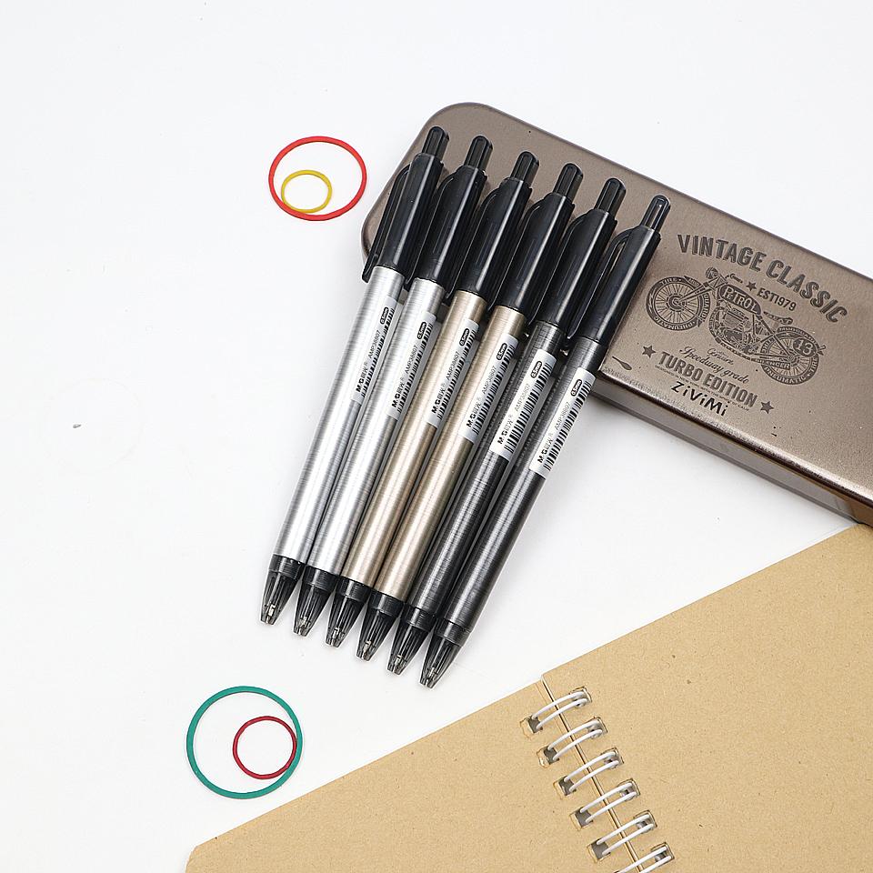 3 piezas 0,5 mm de dise/ño simple caja de metal duradero Auto l/ápiz Papeler/ía Creativa autom/ática Redacci/ón l/ápiz para los estudiantes color al azar