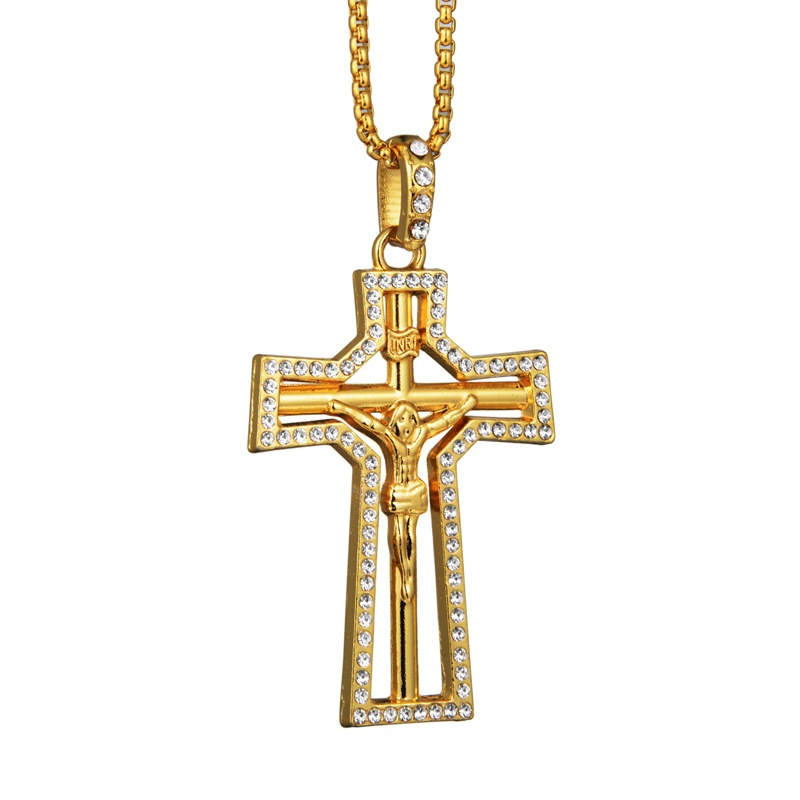 Fashion Unisex/'s Men Stainless Steel Double Hollow Cross Pendant Necklace Chain