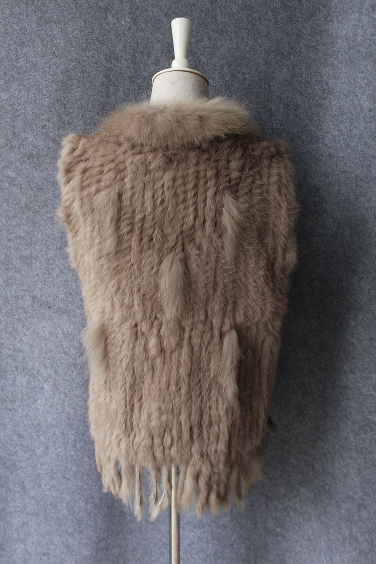genuine real rabbit fur vest with raccoon fur collar (8)