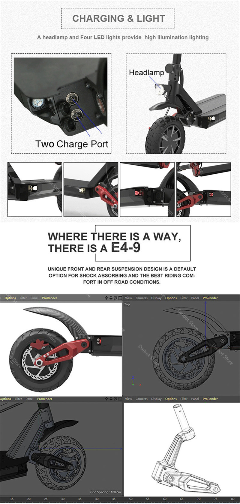 Daibot Powerful Electric Scooter 2 Wheels Electric Scooters 10 Inch 52V 2000W60V 3600W Folding Electric Bike With Rear Tail Box (67)
