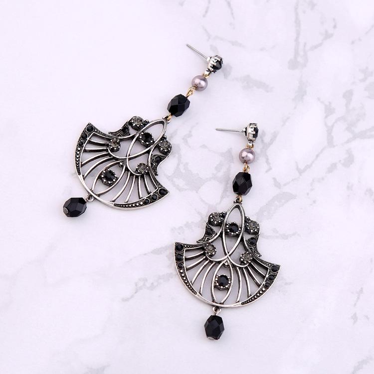 Европейский и американский ретро стиль полые вентилятор современные женские серьги Кристалл старинные драгоценный камень серьги для женщин CE451