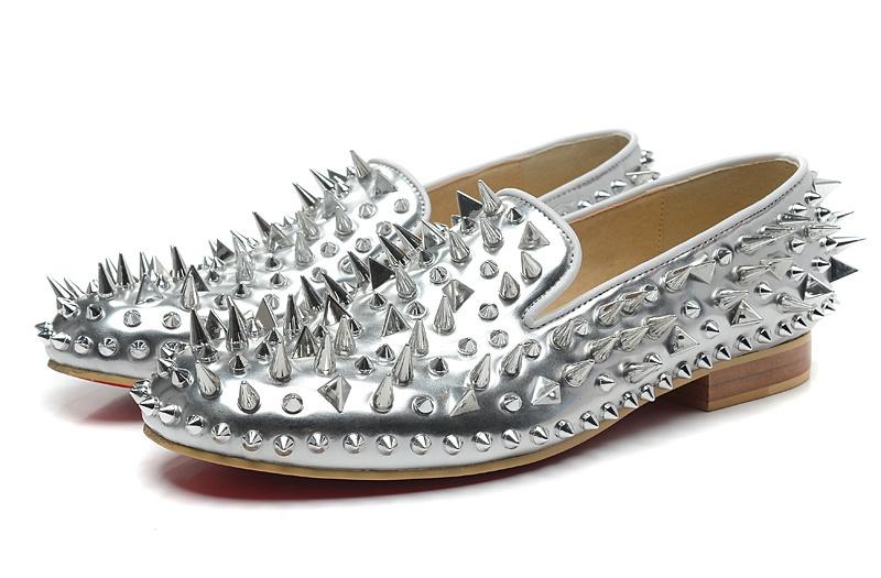 Designer Luxus Red Bottom Loafers für Herren Dandy Pik Pik Flat Black Lackleder Spikes Business Hochzeitskleid Schuhe, Mode Herren Oxfords