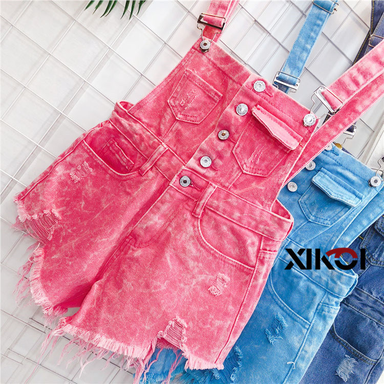 2018 Fashion Denim Bibs Schoolgirl Spring Summer New Loose Korean Thin Hole Burst Fringe Shorts There is a large yard (1)