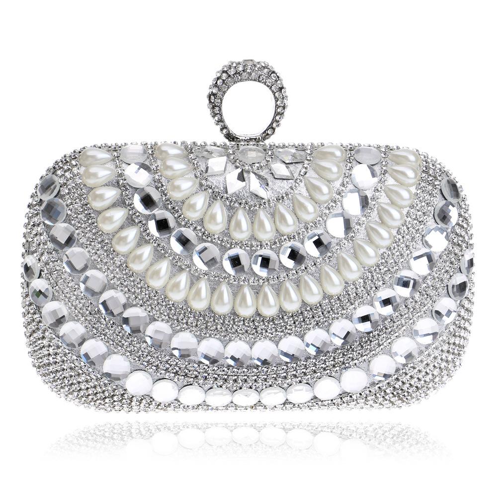 Rhinestones Women Evening Bag One Side Black Lady Beaded Wedding Party Handbags Chain Shoulder Diamonds Clutch Bag