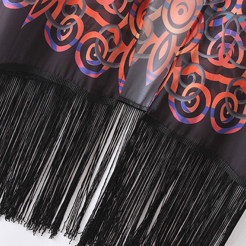 2019 Vintage Women Chiffon Kimono Cardigan Geometric Print Fringed Tassels Loose Boho Outerwear Beach Cover Up Black C19040402