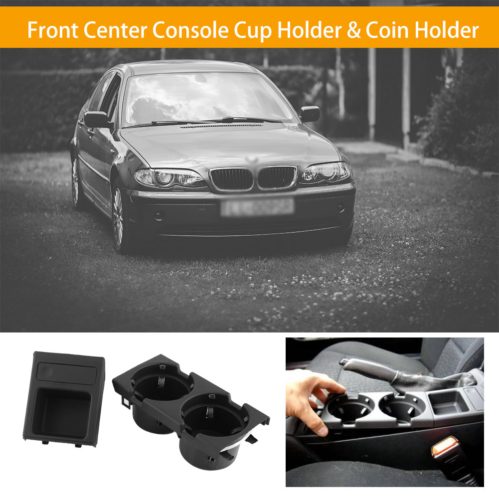 1PC Car Cup Holder Black Front Center Coin Holder For  3 Series E46 98-06