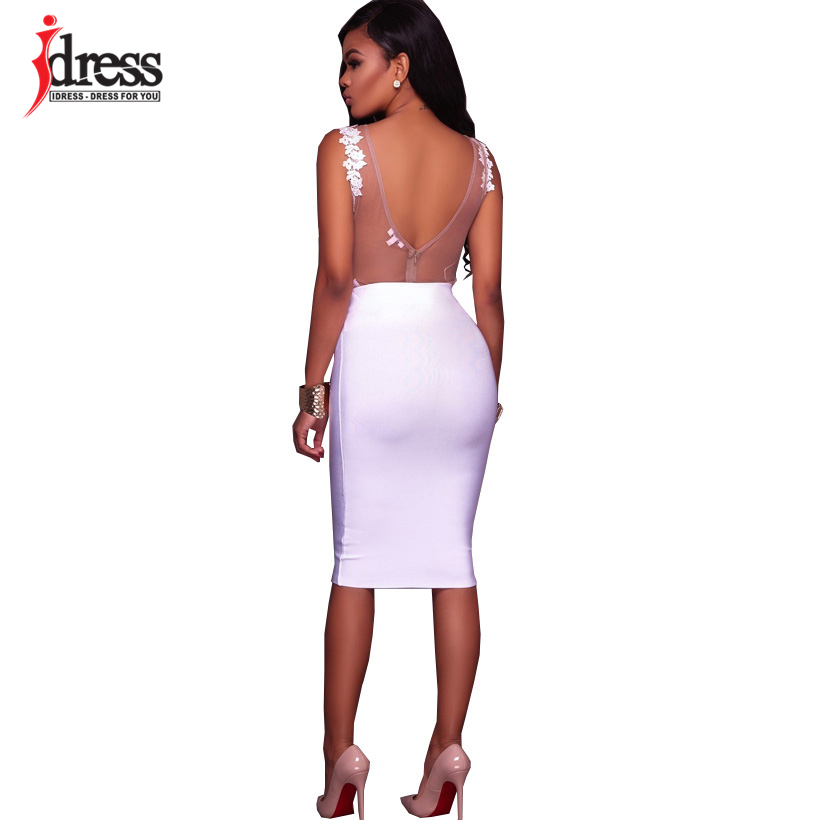 IDress Fashion 2018 New Lace Jumpsuit Women Summer Short Bodycon Playsuit Sexy Backless Mesh V Neck Overalls Party Lace Bodysuit (2)