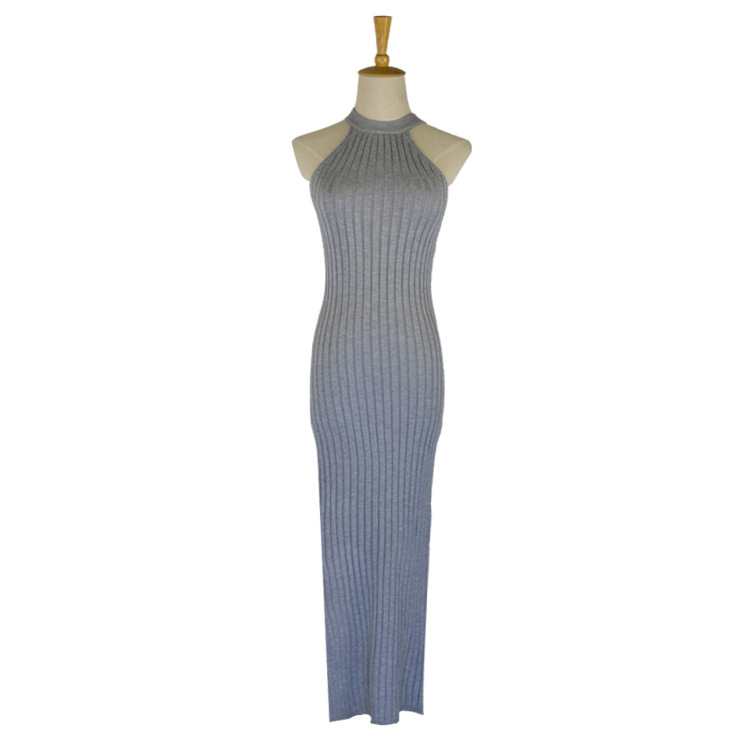 Summer Fall 2018 Ribbed Sweater Dress Women Halter Neck Sleeveless Side Slit Bodycon Knitted Dress Russian Self-Cultivatio Dress