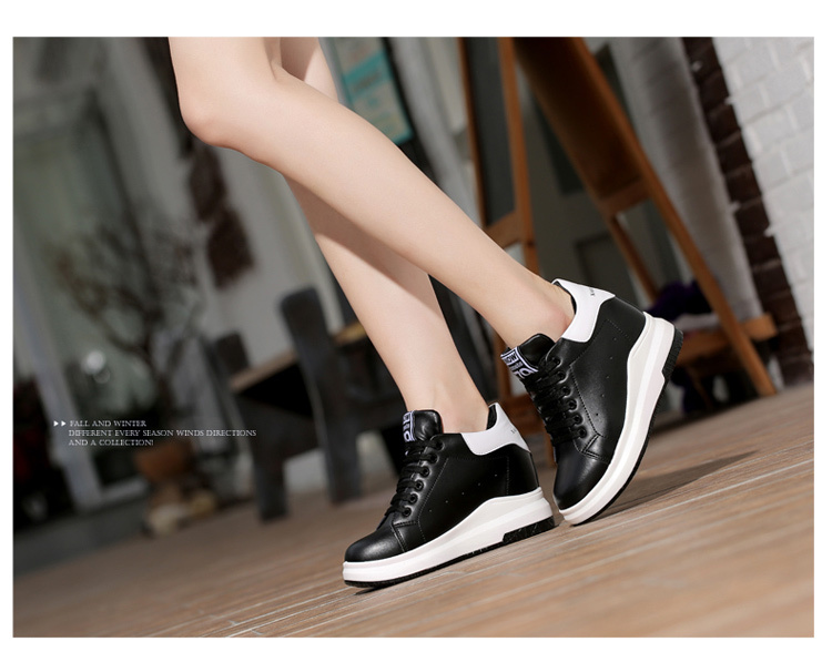 WADNASO Height Increased Casual Shoes Woman Wedge Platform Sneakers Lace Up Breathable Hide Heels Ladies Shoes Female XZ108 (28)