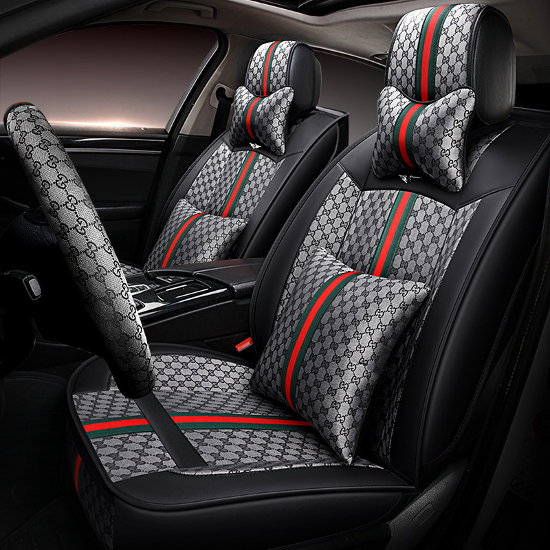 9 pcs Full Red Fabric Car Seat Covers Set For NISSAN JUKE PRIMERA ALMERA