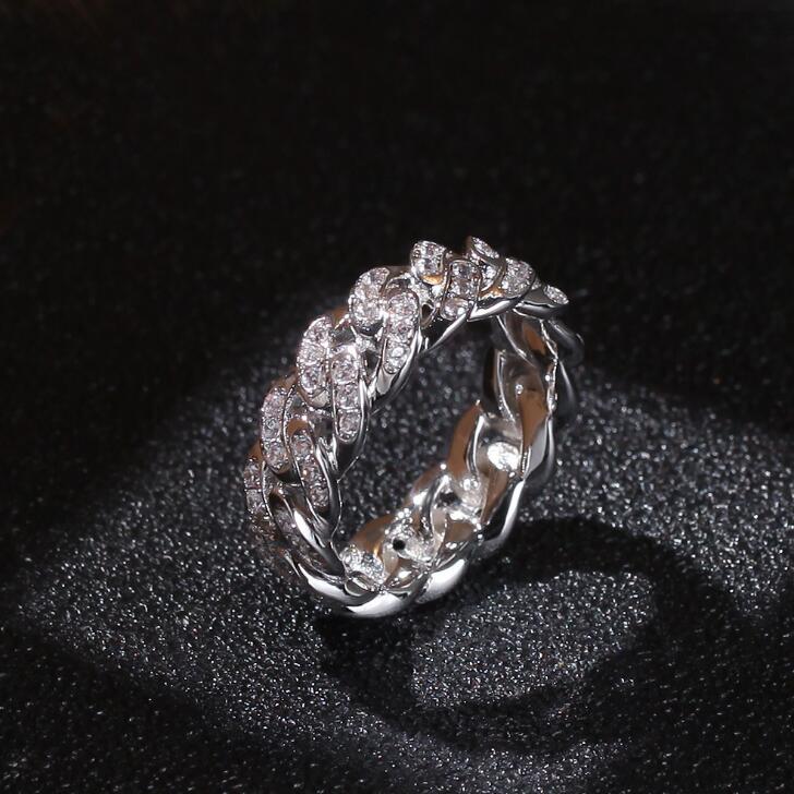 7 mm 18K plaqué or en acier inoxydable 3 Rangée Zircone cubique cristal Wedding Band Ring Taille 6-13