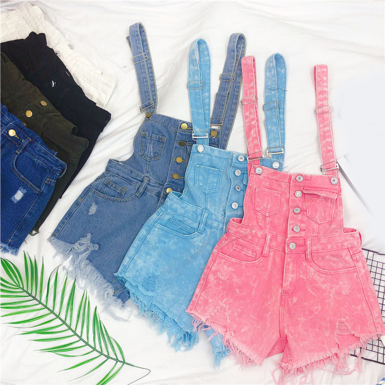 The new loose-fitting Korean version of the springsummer 2017 denim suspenders for female students shows a trend of slim, worsted fringed tassel shorts (4)