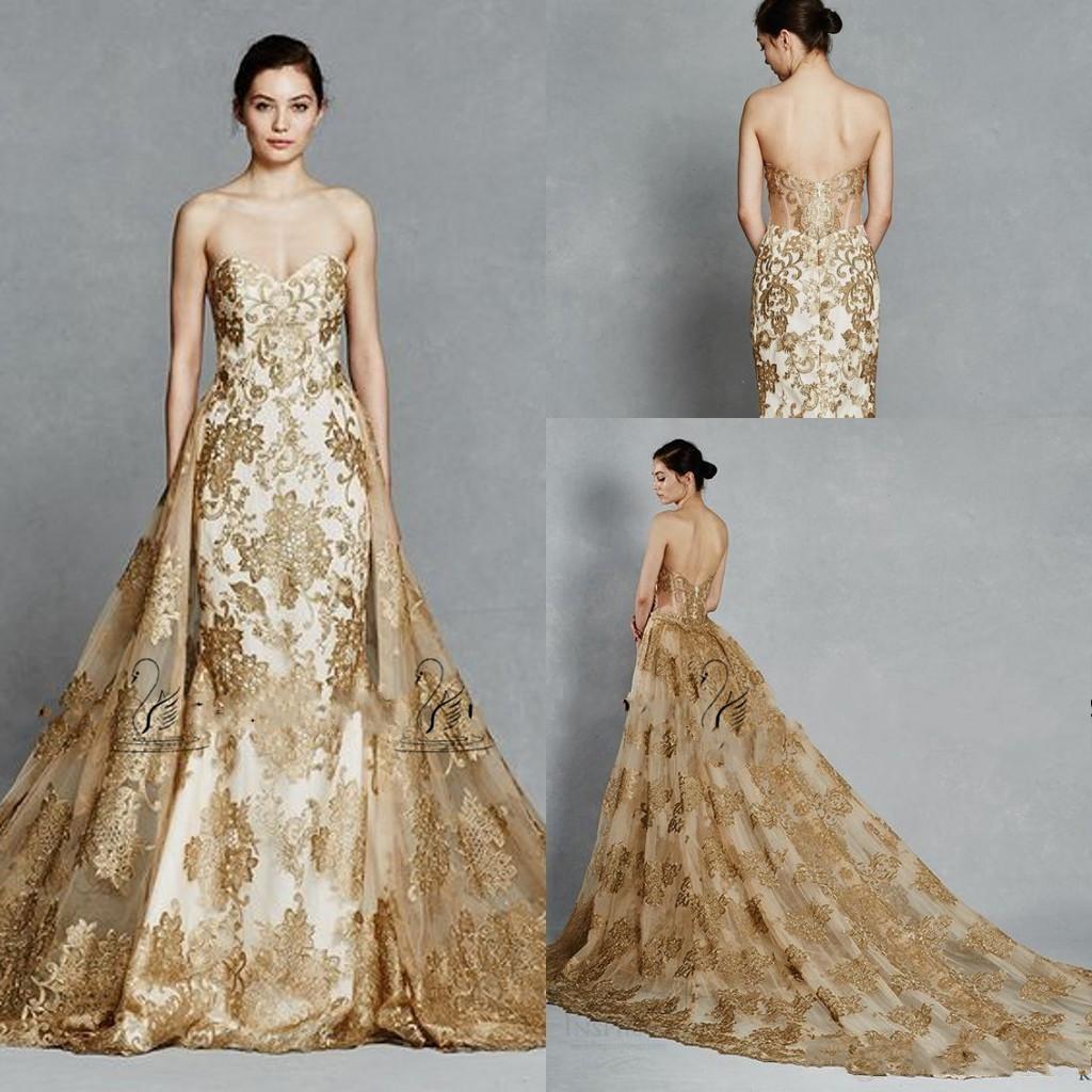 Kelly Faetanini Gold Farbe Spitze Applikationen Königliche Brautkleider mit  Abnehmbarem Zug Liebsten Rückenfrei Zwei Stücke Brautkleider 20