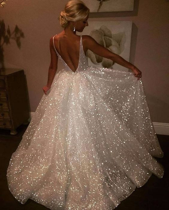 European and American foreign trade new dress fashion explosion models sexy deep V open back dress sequins big swing skirt female
