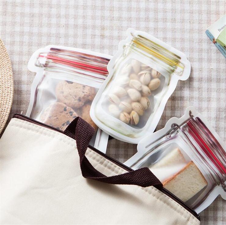 Bolsas reutilizables de Mason Jar botellas dulces galletas sello Impermeable Bolso Bolsa de alimentos frescos