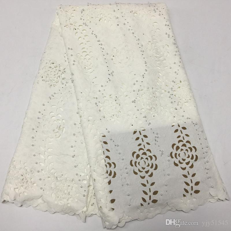 TPY1067 5yards/pc cotton lace fabric in blue embroidery fancy Swiss voile lace with many beads for party dress