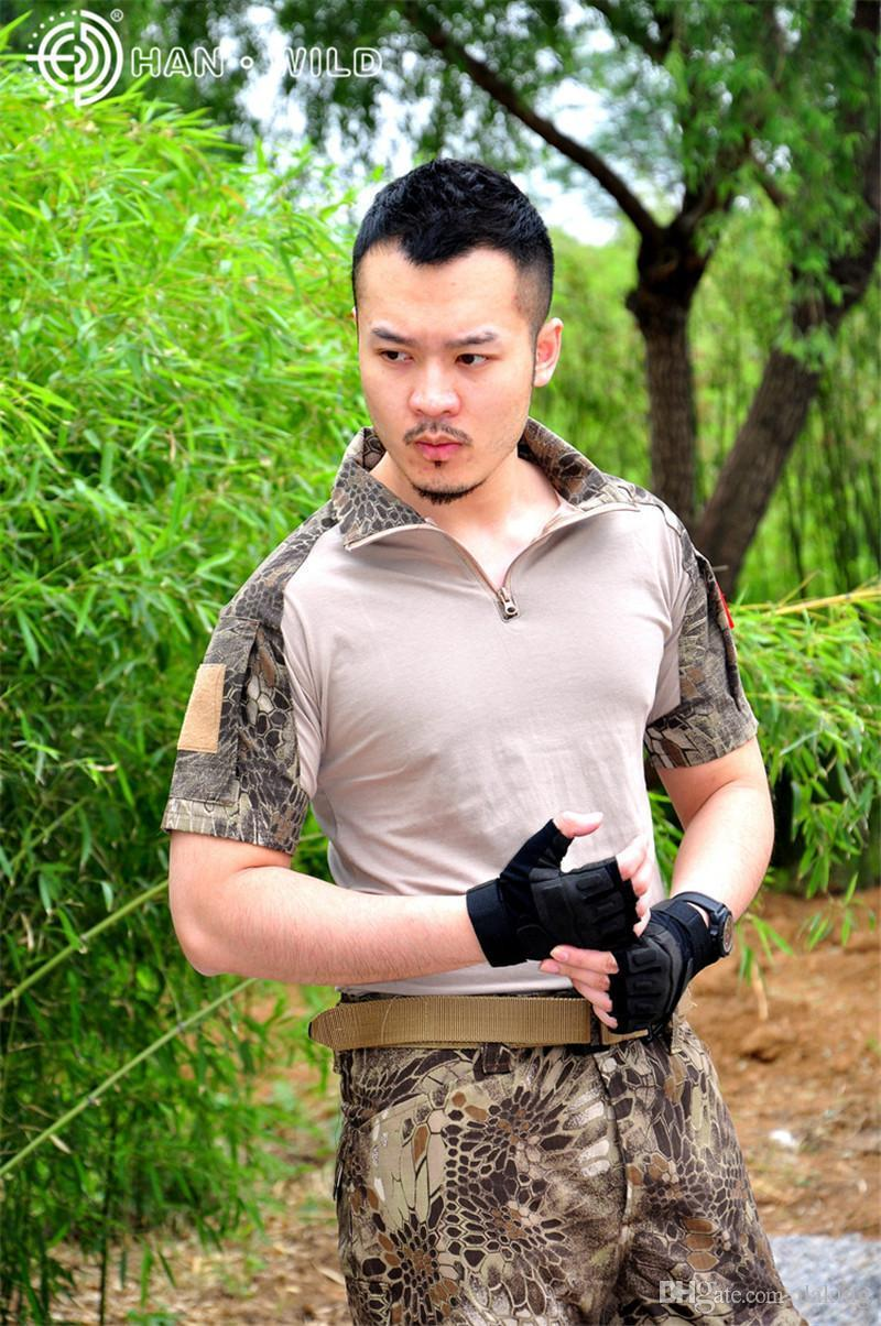 Summer Russia Soldiers Brave Men Jungle Activities Short Sleeve Camo T-shirt Brown Green Python Pattern Serpentine Print Splice Casual Tees