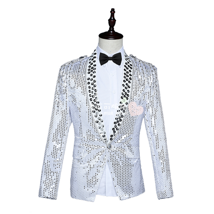 Men's suits, stage sequins, ceremonial men's red, blue and white
