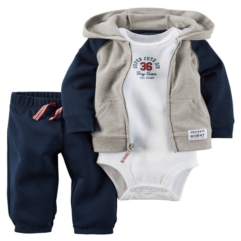 infant Baby bebes Boy Girl clothes set,long sleeve hooded jackets bodysuit pants,3PCS toddler baby outfit,newborn clothes cotton