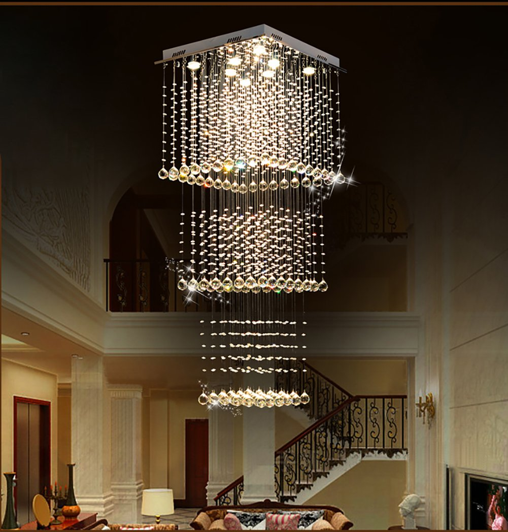Luminaire Pour Couloir D Entrée lustre en cristal de la place moderne led allumant l'escalier raindrop  plafonnier pour le hall d'entrée d'escalier de couloir