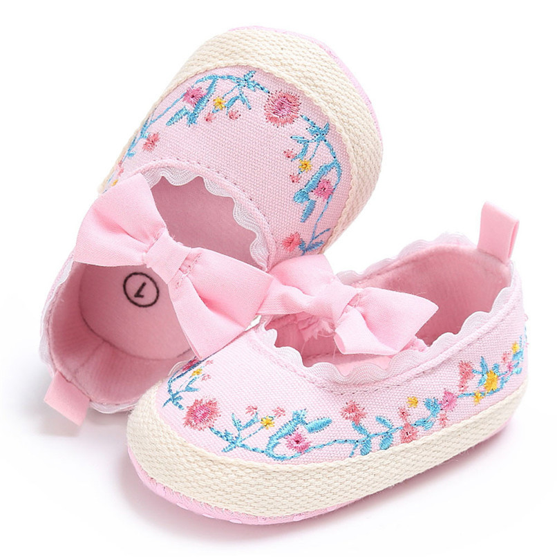 Baby Girls Shoes Fashion Newborn Infant Baby Girls Canvas Floral Bowknot Lace Shoes Soft Sole Anti-slip First Walker M8Y04 (7)