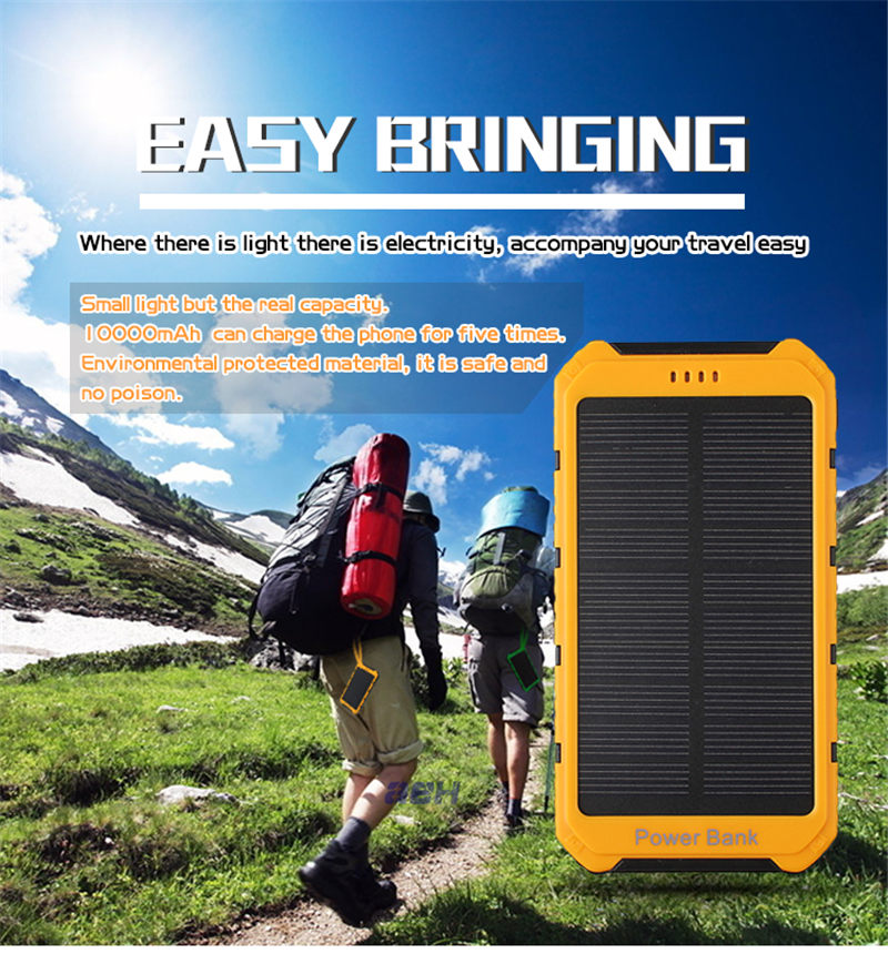 8000mAh Dual USB Portable External Solar Energy Battery Charger Power Bank PowerBank For iPhone 6s Plus Power Bank Charg er
